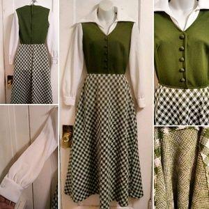 Vintag 70s Maxi Dress Green & White Checked